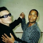 Bono from u2 Dancing in dublin with Tony from the havana club trio